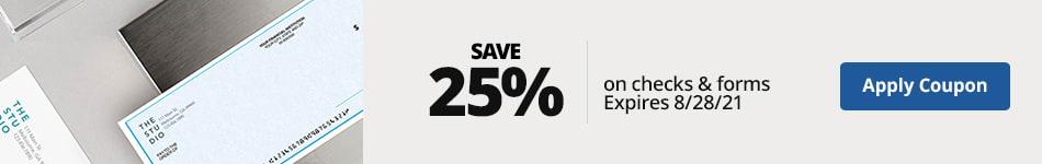 25% off custom checks & forms