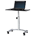 """Height-Adjustable Mobile Laptop Cart, 33 1/16""""H x 23 5/8""""W x 15 3/4""""D, Black/Silver"""