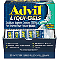 Advil Liqui-Gels Pain Reliever Refill, 2 Tablets Per Packet, Box Of 50 Packets