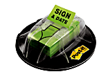 """Post-it® Message Flags in Desk Grip Dispenser, """"Sign & Date"""", 1"""" x 1 -11/16"""", Bright Green, 200 Flags"""