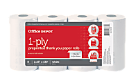 """Office Depot® Brand 1-Ply Preprinted """"Thank You"""" Paper Rolls, 2 1/4"""" x 130', White, Pack Of 8"""