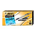 BIC® Round Stic Grip™ Xtra-Comfort Ballpoint Pens, Medium Point, 1.2 mm, Gray Barrel, Black Ink, Pack Of 12 Pens