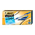 BIC® Round Stic Grip™ Xtra-Comfort Ballpoint Pens, Medium Point, 1.2 mm, Gray Barrel, Blue Ink, Pack Of 12 Pens
