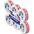 """Tape Logic® Mixed Merchandise Preprinted Carton Sealing Tape, 3"""" Core, 2"""" x 110 Yd., Red/White, Pack Of 6"""