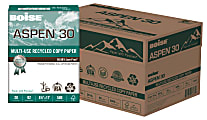 """Boise® ASPEN® 30 Multi-Use Paper, Letter Size (8 1/2"""" x 11""""), 20 Lb, 30% Recycled, FSC® Certified, Ream Of 500 Sheets, Case Of 10 Reams"""
