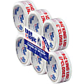 """Tape Logic® Packing List Enclosed Preprinted Carton Sealing Tape, 3"""" Core, 2"""" x 55 Yd., Red/White, Case Of 6"""