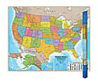 """Round World Products Hemispheres Laminated United States Maps, 38"""" x 48"""", Pack Of 2"""