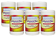 """Boardwalk Antibacterial Wipes, Fresh Scent, 8"""" x 5 1/2"""", White, 75 Wipes Per Canister, Case Of 6 Canisters"""