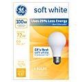 GE Soft White Halogen Light Bulbs, 72W, Pack Of 4 Light Bulbs