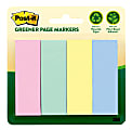 """Post it® Greener Page Markers, 100% Recycled, 1"""" x 3"""", Helsinki, 50 Per Pad, Pack Of 4 Pads"""