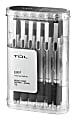 TUL® Retractable Gel Pens, Needle Point, 0.7 mm, Silver Barrel, Black Ink, Pack Of 12 Pens