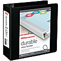 """Office Depot® Brand Durable View 3-Ring Binder, 4"""" Slant Rings, 49% Recycled, Black"""