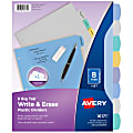 """Avery® Durable Write-On Plastic Dividers With Erasable Tabs, 8 1/2"""" x 11"""", Multicolor, 8 Tabs"""