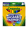 Crayola® Ultra-Clean Washable Markers, Broad Tip, Assorted Classic Colors, Box Of 10