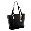 """McKleinUSA® M Series SAVARNA Leather Shoulder Tote With 7 1/2"""" x 10"""" Tablet Compartment, 14 1/2""""H x 5""""W x 13""""D, Black"""
