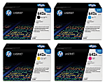 HP 642A HP642ASET-OD 4-Color Original Toner Cartridge Set, Pack Of 4 Cartridges