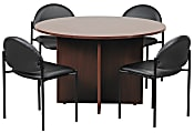 Boss Office Products Conference Table with 4 Chairs, Cherry/Black