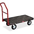 "Rubbermaid Heavy-duty Platform Truck - Push Handle Handle - 1000 lb Capacity - 4 Casters - Resin, Metal, High-density Polyethylene (HDPE) - 48"" Length x 24"" Width - Steel Frame - Black"