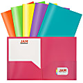 "JAM Paper® POP Plastic 2-Pocket School Folders, 9-1/2"" x 11-1/2"", Assorted Fashion, Pack Of 6 Folders"