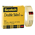 """Scotch® 665 Permanent Double-Sided Tape, 1/2"""" x 900"""", Clear"""