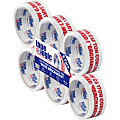"""Tape Logic® Mixed Merchandise Preprinted Carton Sealing Tape, 3"""" Core, 2"""" x 55 Yd., Red/White, Pack Of 6"""