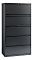 """WorkPro® 36""""W Lateral 5-Drawer File Cabinet, Metal, Charcoal"""
