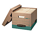 """Bankers Box® R Kive® FastFold® BAA Compliant Heavy-Duty Storage Boxes With Locking Lift-Off Lids And Built-In Handles, Letter/Legal Size, 15""""D x 12"""" x 10"""", 100% Recycled, Kraft/Green, Case Of 12"""