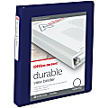 """Office Depot® Brand Durable View 3-Ring Binder, 1"""" Round Rings, 49% Recycled, Blue"""
