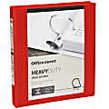 """Office Depot® Brand Heavy-Duty View 3-Ring Binder, 1"""" D-Rings, 49% Recycled, Red"""