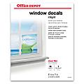 "Office Depot® Inkjet Window Decals, Matte, Letter Size (8 1/2"" x 11""), Pack Of 10"