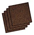 "Quartet® Cork Bulletin Board Tiles, 12"" x 12"", Dark Finish Brown, Pack Of 4"