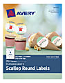 """Avery® Print-To-The-Edge Permanent Scallop Labels, AVE08218, 2 1/2"""" Diameter, Textured White, Pack Of 90"""
