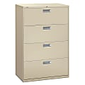 """HON® Brigade® 600 36""""W Lateral 4-Drawer File Cabinet, Metal, Putty"""