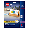 """Avery® Laser Clean Edge® Two-Side Printable Business Cards, 2"""" x 3 1/2"""", White, Pack Of 200"""