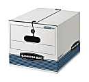 """Bankers Box® Stor/File™ Storage File Boxes With String & Button Closures, Letter/Legal Size, 11"""" x 12 1/4"""" x 16"""", White/Blue, Case Of 12"""