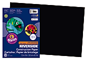 """Riverside® Groundwood Construction Paper, 100% Recycled, 12"""" x 18"""", Black, Pack Of 50"""