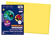 """Riverside® Groundwood Construction Paper, 100% Recycled, 12"""" x 18"""", Yellow, Pack Of 50"""