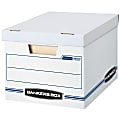 """Bankers Box® Stor/File™ Standard-Duty Storage Boxes With Lift-Off Lids And Built-In Handles, Letter/Legal Size, 10"""" x 12"""" x 15"""", 60% Recycled, White/Blue, Pack Of 10"""