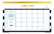 "Blue Sky™ Day Designer Monthly Desk Pad, 11"" x 17"", Navy Stripe, January To December 2021, 103628"