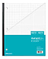 """Office Depot® Brand Wireless Notebook, 8 1/2"""" x 11"""", 1 Subject, Dual-Sized Quadrille Ruled (4"""" x 4"""", 5"""" x 5""""), 80 Sheets, Teal"""