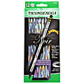 Ticonderoga® Noir Black Wood Pencils, #2 Soft Lead, Pre-Sharpened, Black/Silver, Pack Of 12 Pencils