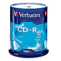 Verbatim® CD-R Recordable Media, Spindle, 700MB/80 Minutes, Pack Of 100