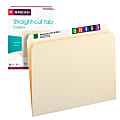 Smead® File Folders, Letter Size, Straight Cut, Manila, Pack Of 100