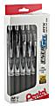 Pentel® EnerGel® RTX Retractable Liquid Gel Pens, Medium Point, 0.7 mm, Black/Silver Barrel, Black Ink, Pack Of 12