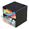 """Deflect-O® Stackable Cube With 4 Drawers, 6""""H x 6""""W x 6""""D, Black"""