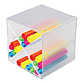 """Deflect-O® Stackable Cube With X Divider, 6""""H x 6""""W x 6""""D, Clear"""