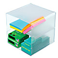 """Deflect-O® Stackable Cube With 2 Shelves, 6""""H x 6""""W x 6""""D, Clear"""