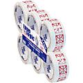 "Tape Logic® Fragile (Box) Preprinted Carton Sealing Tape, 3"" Core, 2"" x 55 Yd., Red/White, Pack Of 6"