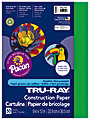 """Tru-Ray® Construction Paper, 50% Recycled, 9"""" x 12"""", Festive Green, Pack Of 50"""