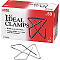 ACCO® Ideal Paper Clamp (Butterfly Clamp), Smooth Finish, #2 Size (Small), 50/Box - Small - No. 2 - 100 Sheet Capacity - 50 / Box - Silver